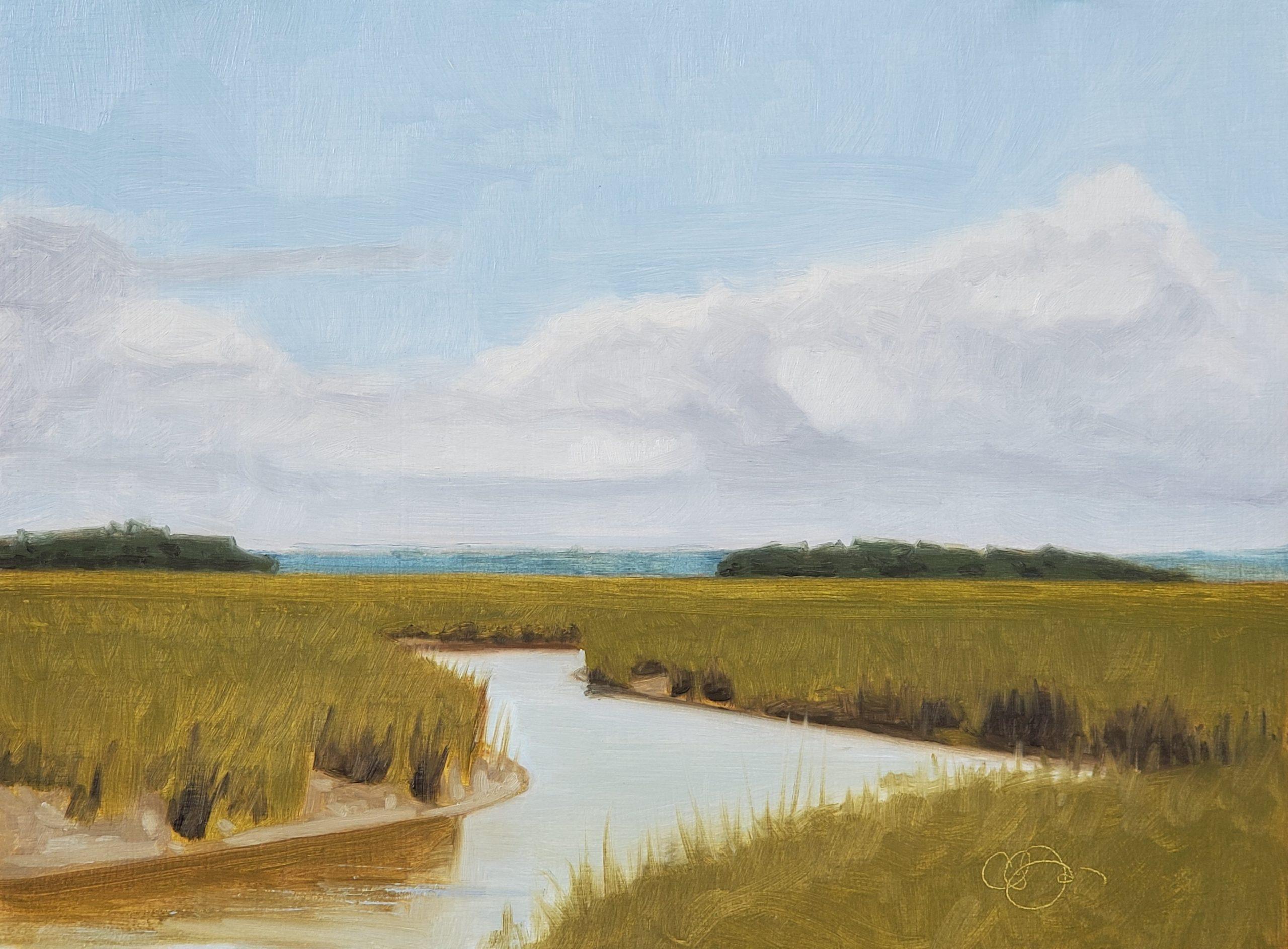 Sullivans Island Waterway 2, 9″ x 12″, Oil on Panel