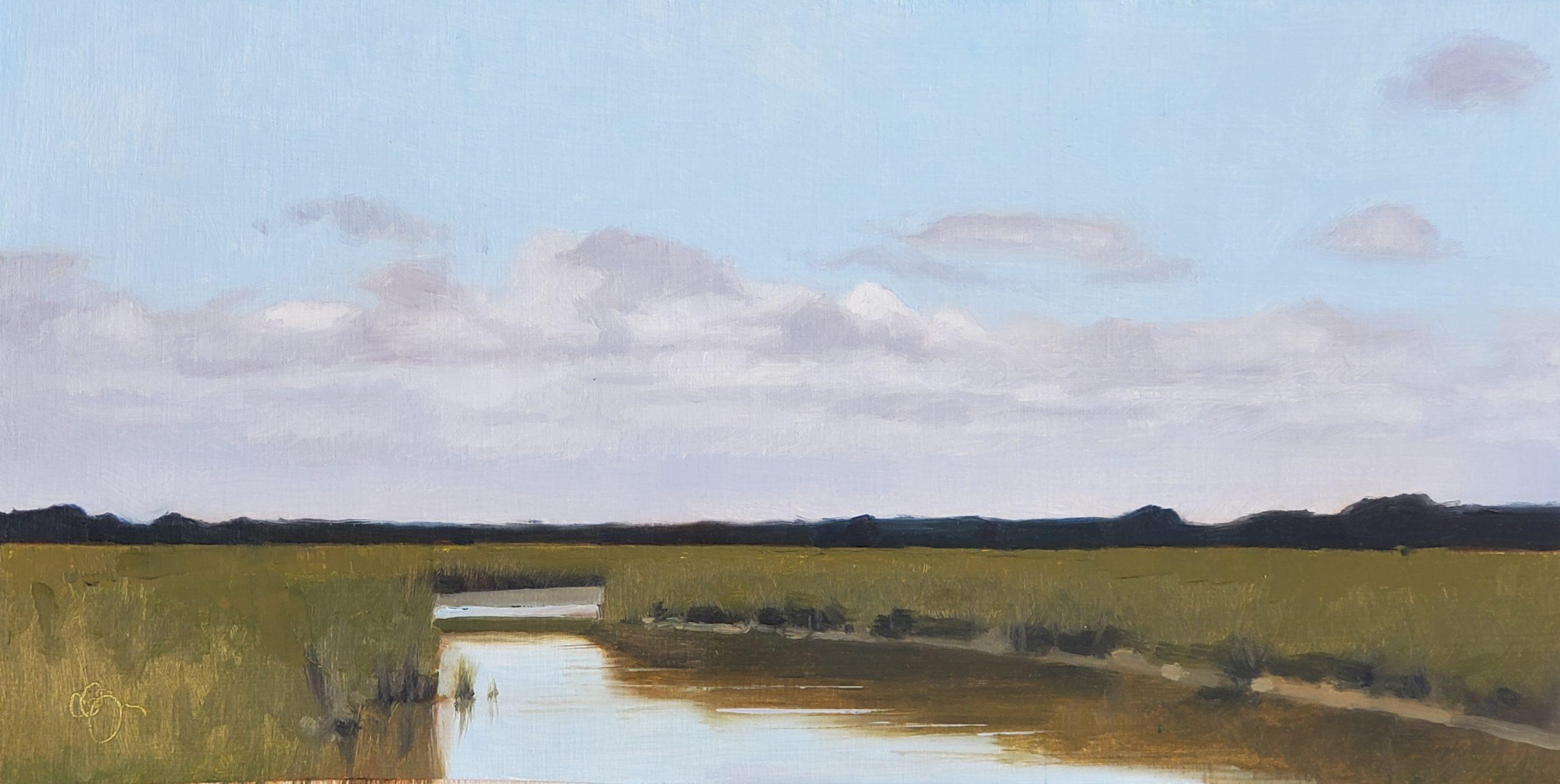 Sullivans Island Waterway, 6″ x 12″, Oil on Panel